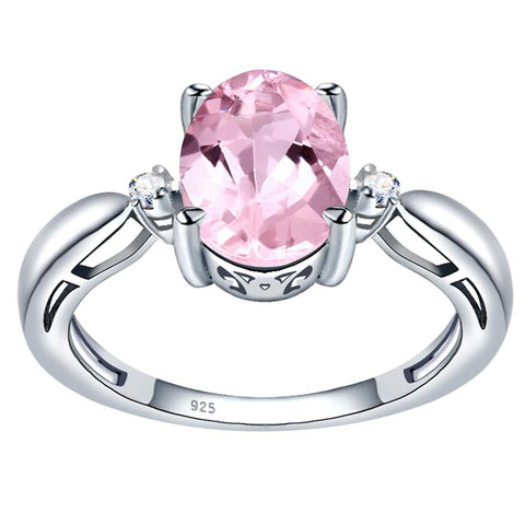 Orchid Jewelry 925 Sterling Silver Simulated Morganite & Diamond 3-Stone Ring