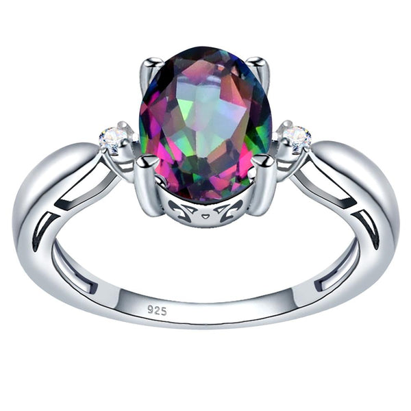 Orchid Jewelry 925 Sterling Silver Simulated Mystic Quartz & White Topaz 3-Stone Ring