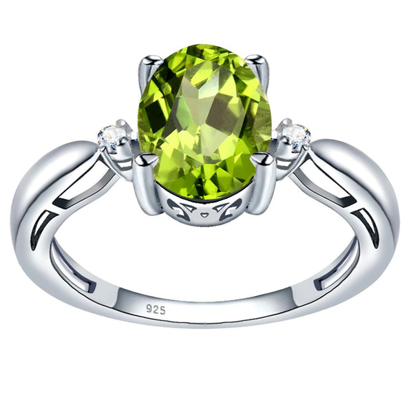 Orchid Jewelry 925 Sterling Silver Simulated Peridot & Diamond 3-Stone Ring