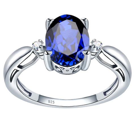 Orchid Jewelry Sterling Silver Simulated Sapphire & Diamond 3-Stone Engagement Ring