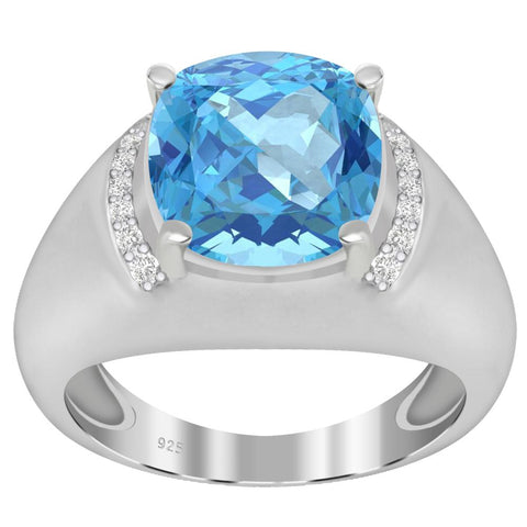 Orchid Jewelry 925 Sterling Silver Simulated Aquamarine Diamond Cocktail Ring