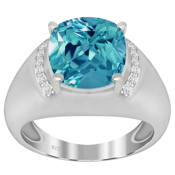 Orchid Jewelry 925 Sterling Silver Simulated Paraiba Tourmaline & Diamond Cocktail Ring