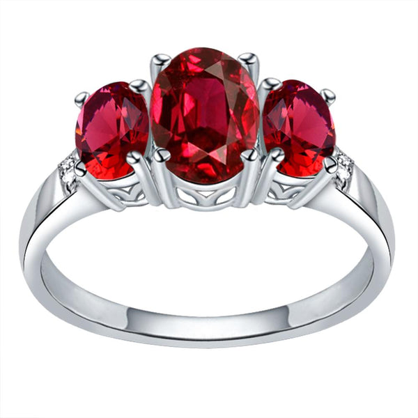 Orchid Jewelry 925 Sterling Silver Simulated Ruby & Diamond 3-Stone Ring