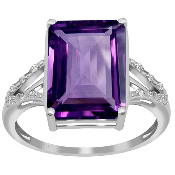 Orchid Jewelry 925 Sterling Silver Amethyst & White Topaz Cocktail Ring
