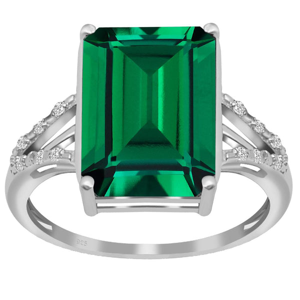 Orchid Jewelry 925 Sterling Silver Simulated Emerald & Diamond Cocktail Ring