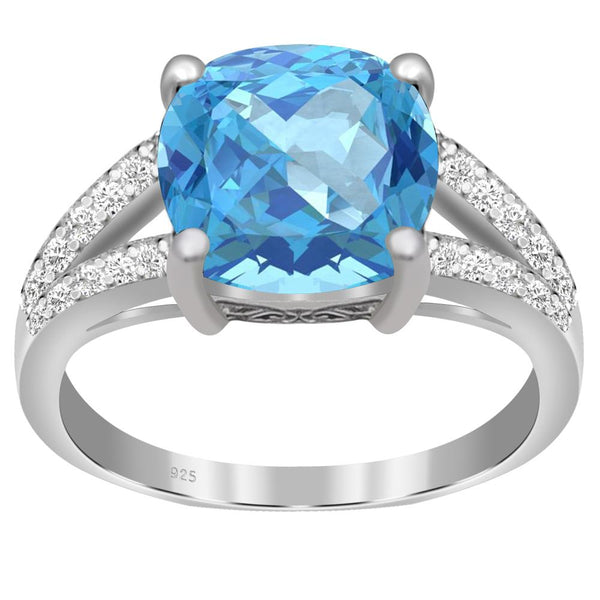 Orchid Jewelry 925 Sterling Silver Blue Topaz & White Topaz Engagement Ring