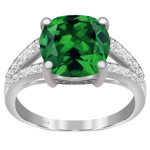 Orchid Jewelry 925 Sterling Silver Simulated Emerald & Diamond Engagement Ring