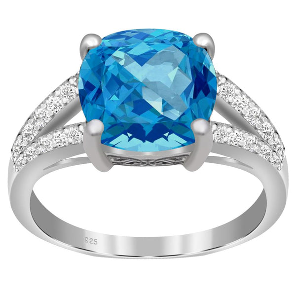 Orchid Jewelry 925 Sterling Silver Simulated London Blue Topaz & Diamond Engagement Ring