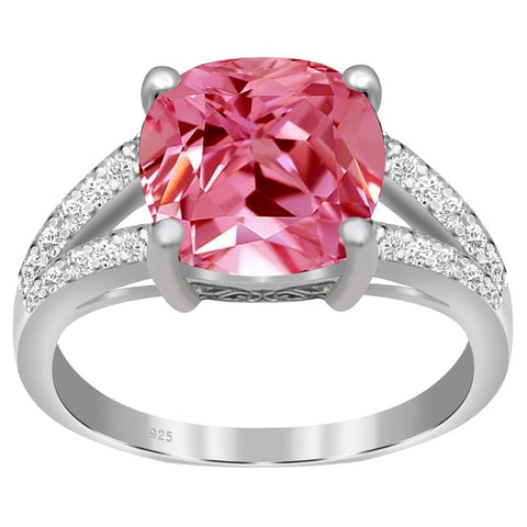 Orchid Jewelry 925 Sterling Silver Simulated Pink Sapphire & Diamond Engagement Ring