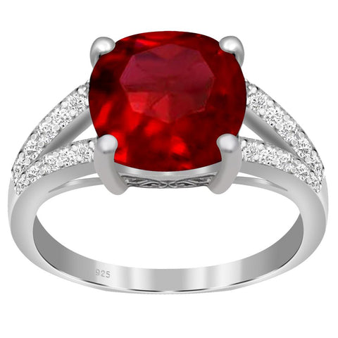 Orchid Jewelry 925 Sterling Silver Simulated Ruby & Diamond Engagement Ring
