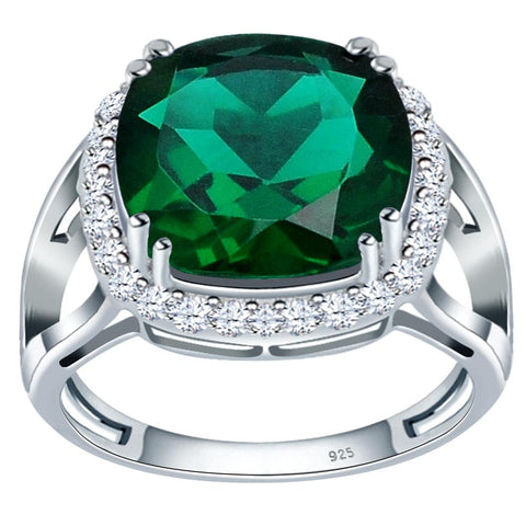 Orchid Jewelry 925 Sterling Silver Simulated Emerald & White Topaz Halo Engagement Ring