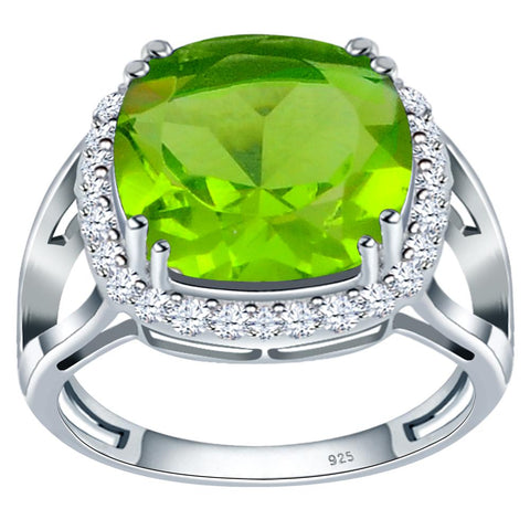 Orchid Jewelry 925 Sterling Silver Simulated Peridot & White Topaz Halo Engagement Ring