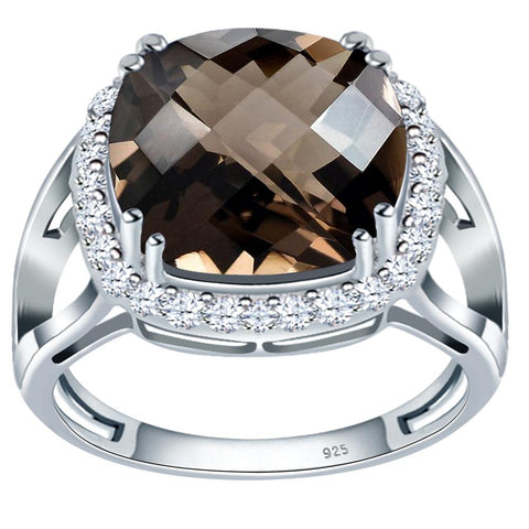 Orchid Jewelry 925 Sterling Silver Smoky Quartz & White Topaz Halo Engagement Ring