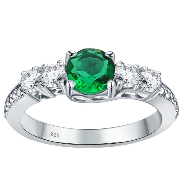 Orchid Jewelry 925 Sterling Silver Simulated Emerald, White Topaz & Diamond Band Ring