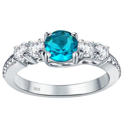 Orchid Jewelry 925 Sterling Silver Simulated Paraiba Tourmaline, White Topaz & Diamond Band Ring
