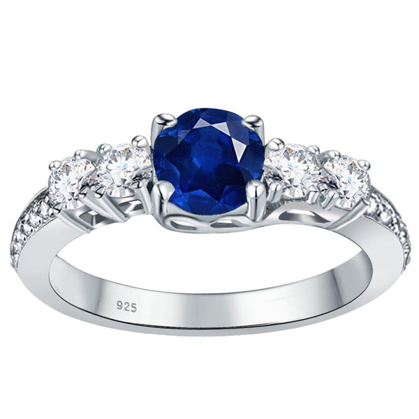 Orchid Jewelry 925 Sterling Silver Simulated Sapphire, White Topaz & Diamond Band Ring