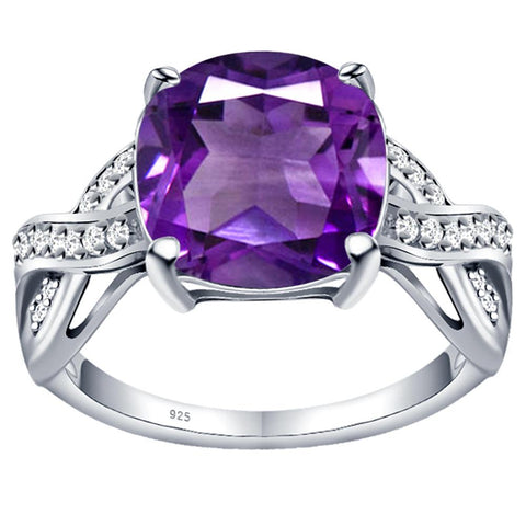 Orchid Jewelry 925 Sterling Silver Amethyst White Topaz Statement Ring
