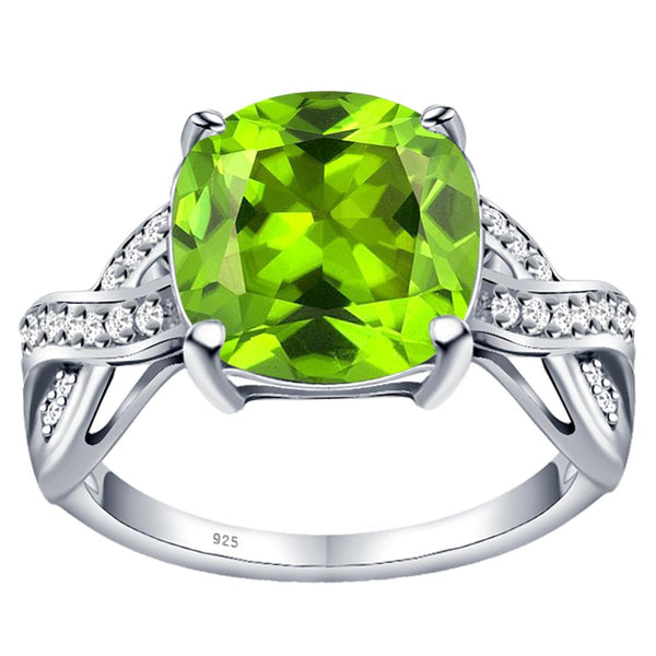 Orchid Jewelry 925 Sterling Silver Simulated Peridot & Diamond Statement Ring