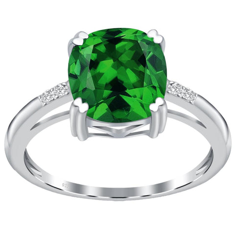 Orchid Jewelry 925 Sterling Silver Simulated Emerald & Diamond Anniversary Ring