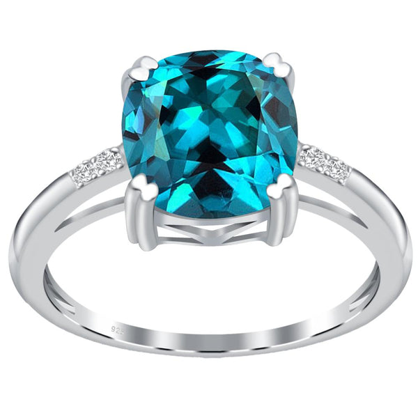 Orchid Jewelry 925 Sterling Silver Simulated Paraiba Tourmaline & Diamond Anniversary Ring