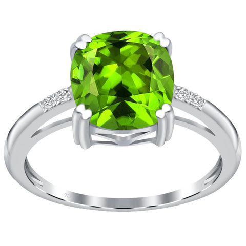 Orchid Jewelry 925 Sterling Silver Simulated Peridot & Diamond Anniversary Ring