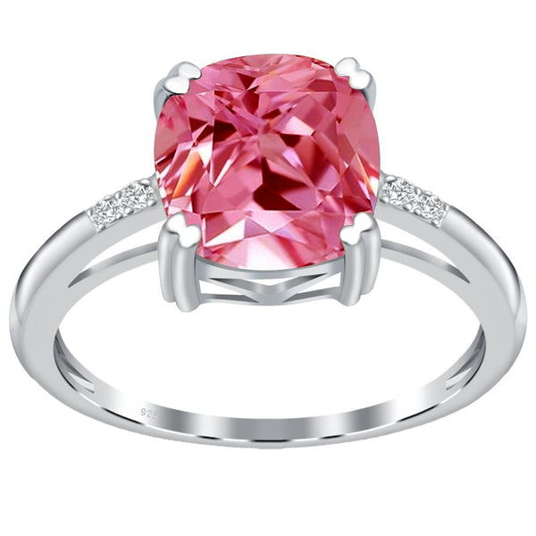 Orchid Jewelry 925 Sterling Silver Simulated Pink Sapphire & Diamond Anniversary Ring