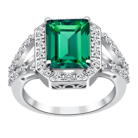 Orchid Jewelry 925 Sterling Silver Simulated Emerald & White Topaz Cocktail Ring