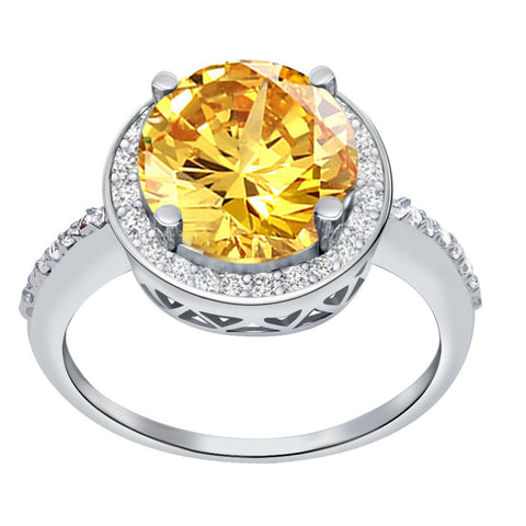 Orchid Jewelry 3.50 Carat Citrine & White Topaz Sterling Silver Halo Ring