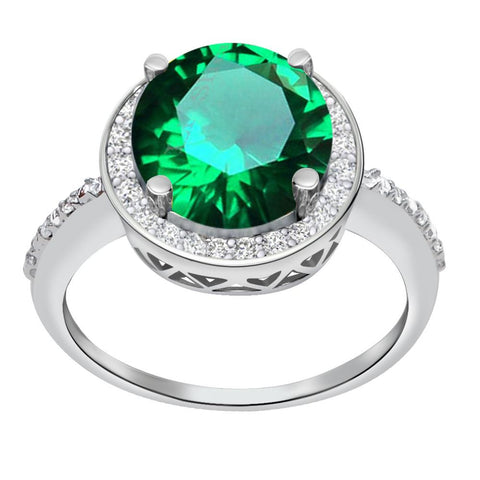 Orchid Jewelry 3.07 Carat Emerald & Diamond Sterling Silver Halo Ring