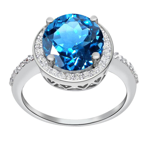 Orchid Jewelry 3.50 Carat Blue Topaz & Diamond Sterling Silver Halo Ring