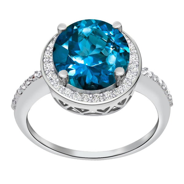 Orchid Jewelry 3.03 Carat Simulated Paraiba Tourmaline & Diamond Sterling Silver Halo Ring