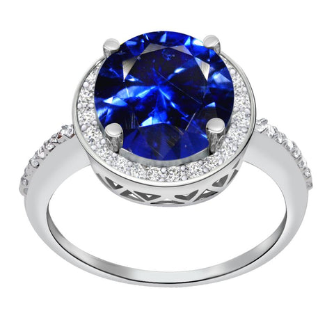 Orchid Jewelry 5.11 Carat Simulated Sapphire & Diamond Sterling Silver Halo Ring