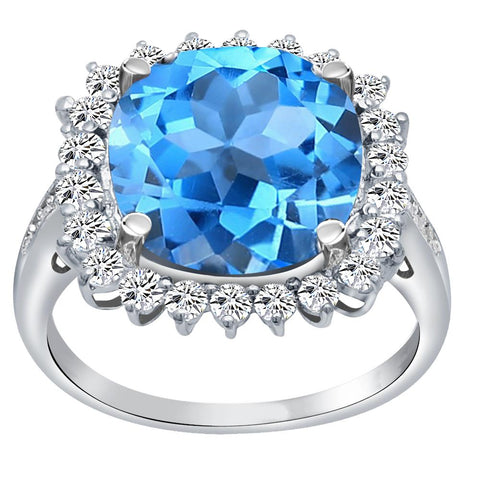 Orchid Jewelry 925 Sterling Silver Simulated Blue Topaz, White Topaz & Diamond Halo Cocktail Ring