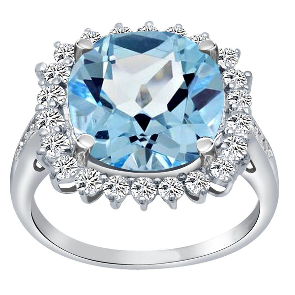 Orchid Jewelry 925 Sterling Silver Simulated Aquamarine, White Topaz & Diamond Halo Cocktail Ring