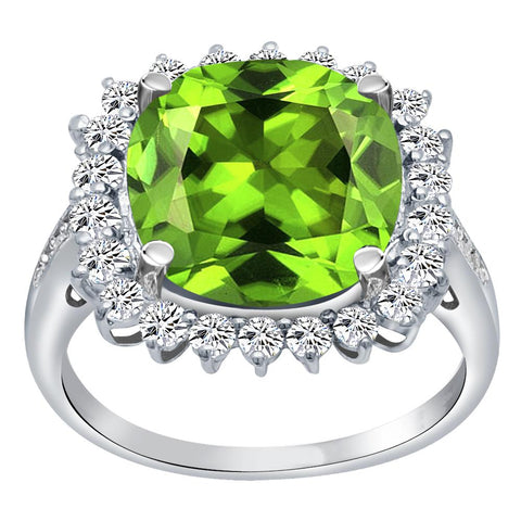 Orchid Jewelry 925 Sterling Silver Simulated Peridot, White Topaz & Diamond Halo Cocktail Ring