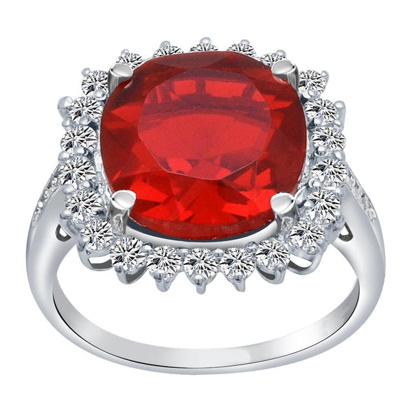Orchid Jewelry 925 Sterling Silver Simulated Ruby, White Topaz & Diamond Halo Cocktail Ring