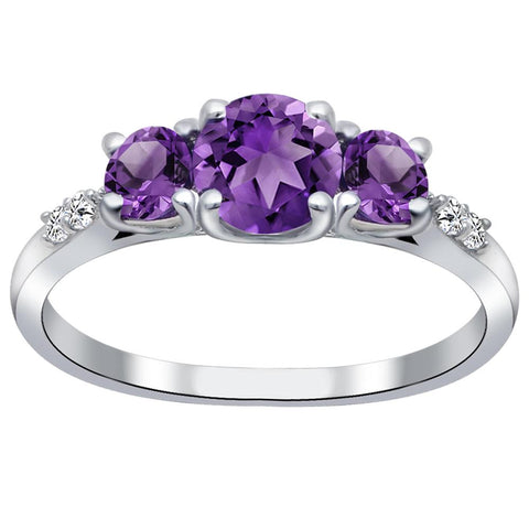 Orchid Jewelry 925 Sterling Silver Amethyst & White Topaz 3-Stone Ring