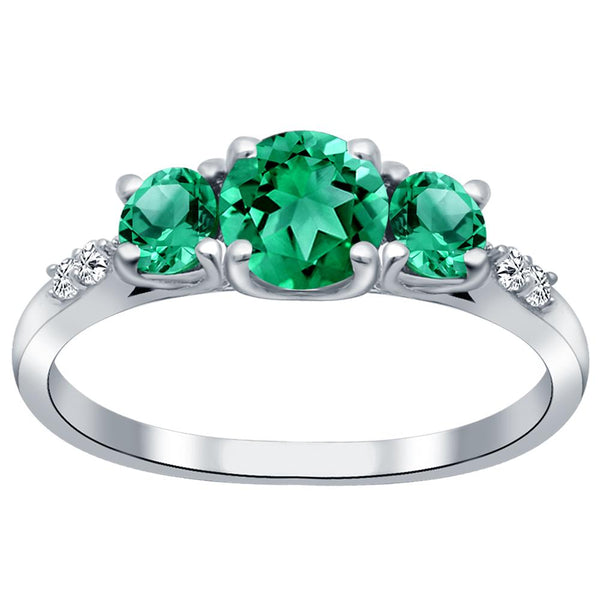 Orchid Jewelry 925 Sterling Silver Simulated Emerald & Diamond 3-Stone Ring