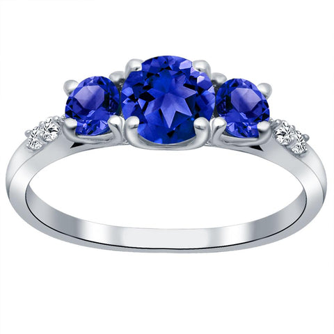 Orchid Jewelry 925 Sterling Silver Simulated Sapphire & Diamond 3-Stone Ring