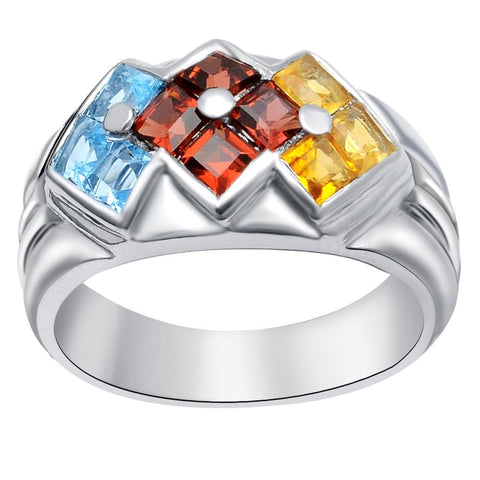 Orchid Jewelry 4.00 Carat Blue Topaz, Garnet & Citrine 925 Sterling Silver Cocktail Ring