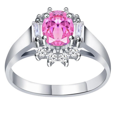 Orchid Jewelry 925 Sterling Silver Pink & White Cubic Zirconia Anniversary Ring