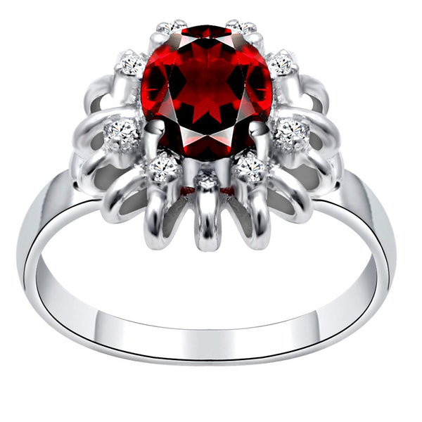 Orchid Jewelry 2.40 Carat Garnet & Cubic Zirconia 925 Sterling Silver Ring