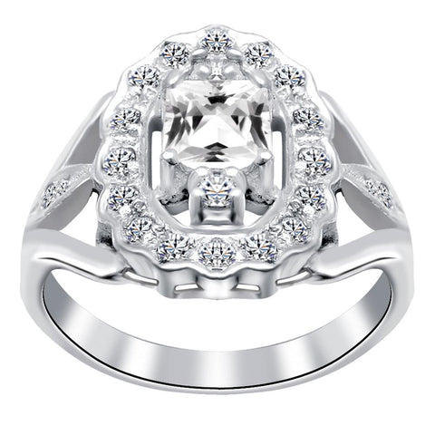 Orchid Jewelry 925 Sterling Silver Cubic Zirconia Halo Ring