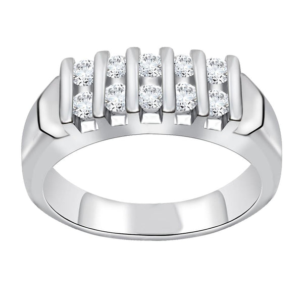 Orchid Jewelry 925 Sterling Silver Cubic Zirconia Anniversary Ring