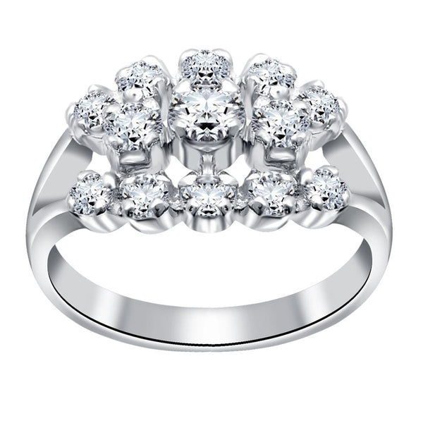 Orchid Jewelry 925 Sterling Silver Cubic Zirconia Women Engagement Fiancee Ring