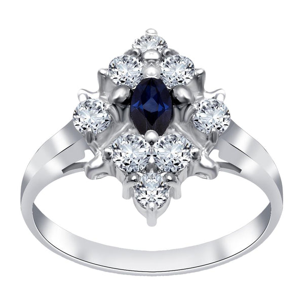 Orchid Jewelry 1.10 Carat Sapphire & Cubic Zirconia 925 Sterling Silver Ring