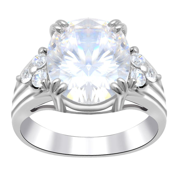 Orchid Jewelry 925 Sterling Silver Cubic Zirconia Oval Shape Clear Gemstone Ring