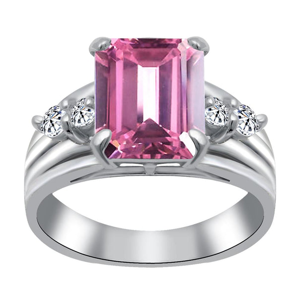 Orchid Jewelry 925 Sterling Silver Pink & White Cubic Zirconia Cocktail Ring