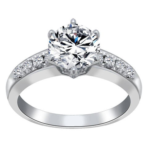 Orchid Jewelry 925 Sterling Silver Cubic Zirconia Engagement Ring