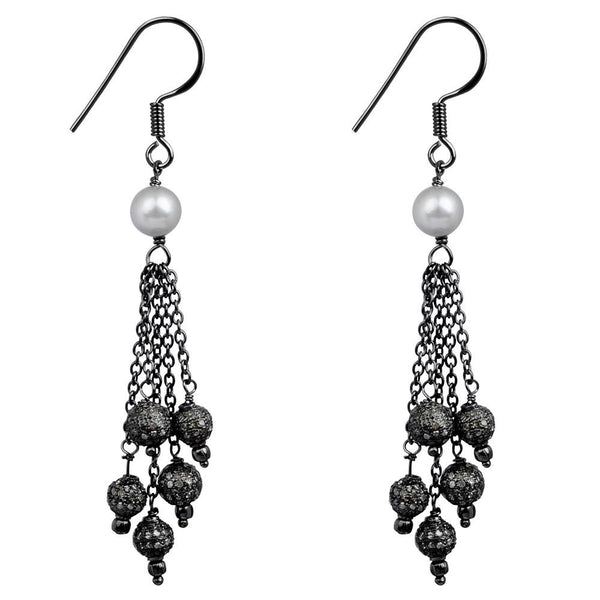 Jeweltique Designs 925 Sterling Silver 5.48 Carat Diamond & Pearl Earrings